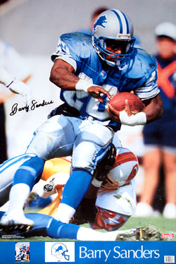 "Barry Sanders ""Super Action"" Detroit Lions Signature Series Poster - Marketcom/Sports Illustrated 1990"