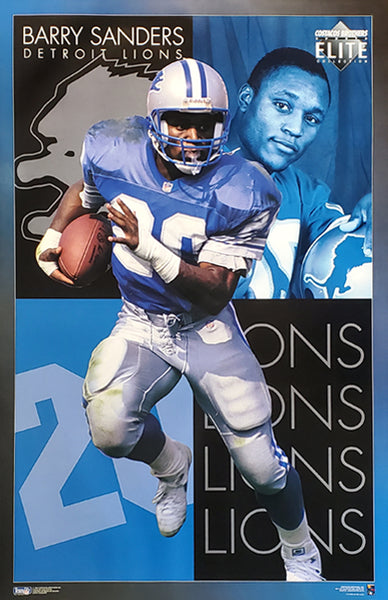 "Barry Sanders ""Elite"" Detroit Pistons NFL Football Action Poster - Costacos Brothers 1994"