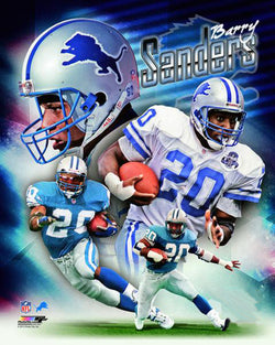 "Barry Sanders ""Legend"" Detroit Lions Premium NFL Gameday Collage Poster - Photofile 16x20"