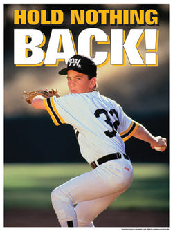"Baseball Pitcher ""Hold Nothing Back"" Motivational Poster - Fitnus Corp."