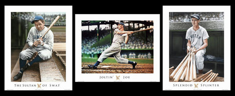 COMBO: MLB Baseball Golden Age Legends 3-Poster Set (Ruth, DiMaggio, Williams) - ISI