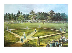 "Baseball ""Elysian Fields 1866"" Classic Currier and Ives Poster Print"