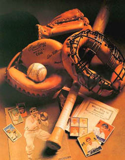 "Vintge Baseball Memorabilia Collage ""Old-Time Baseball"" Poster Print"
