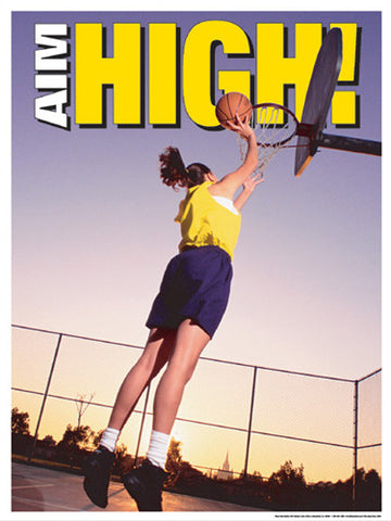 "High School Girls Basketball ""Aim High"" Motivational Poster - Fitnus Corp."