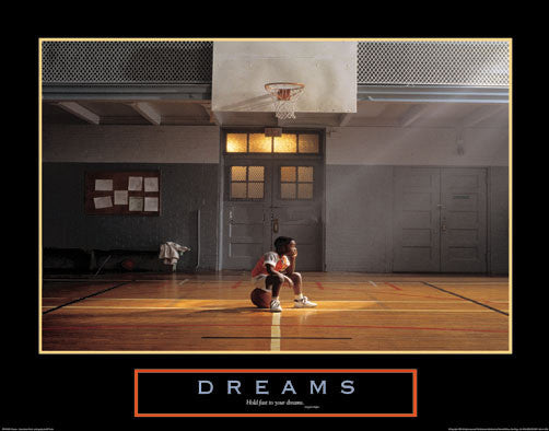 "Basketball ""Dreams"" (Little Boy on Ball) Inspirational Poster - Paloma Editions"