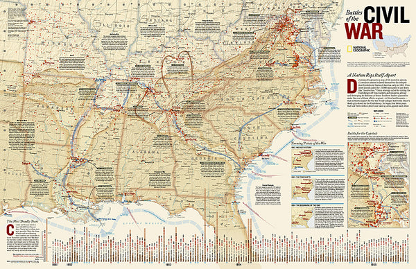 Battles of the American Civil War National Geographic 24x36 Wall Map Poster - NG Maps