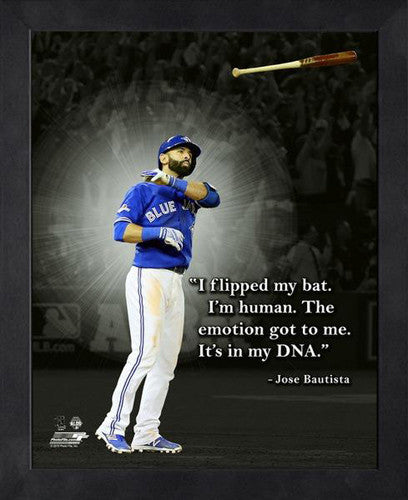 "Jose Bautista ""Emotion"" (Bat Flip) Toronto Blue Jays FRAMED 16x20 PRO QUOTES PRINT - Photofile"