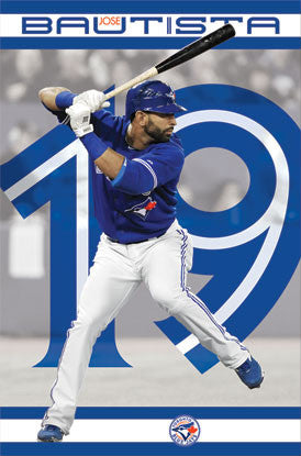 "Jose Bautista ""19 In Blue"" Toronto Blue Jays MLB Action Poster - Costacos Sports"