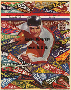 Baylor vs Texas A&M Football 1942 Vintage Program Cover Poster - Asgard Press