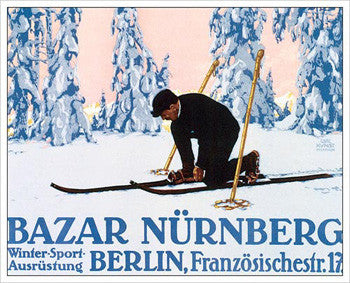 "Cross-Country Skiing ""Bazar Nurnberg"" Art 1912 Vintage Poster Reprint"