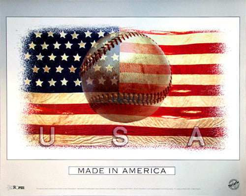 "Baseball ""Made in America"" Patriotic Sports Poster - Bill Goff Inc."