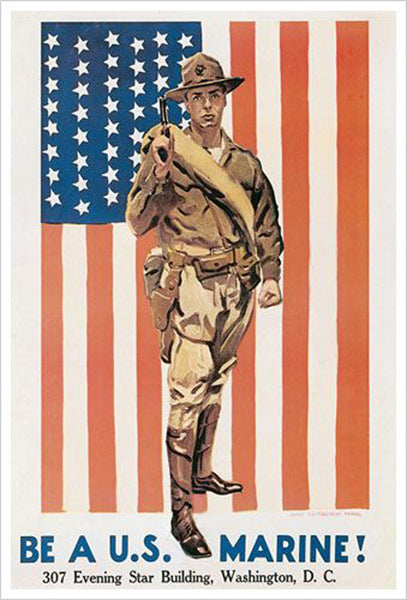 Be a U.S. Marine WWI Recruiting Poster Historic Reprint (James Montgomery Flagg)