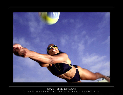"Women's Beach Volleyball ""Dive, Dig, Dream"" Motivational Poster"