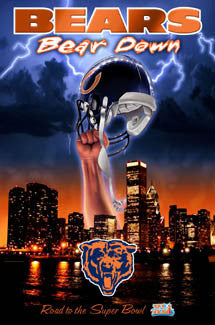 "Chicago Bears ""Bear Down"" Super Bowl XLI Poster - Action Images 2007"
