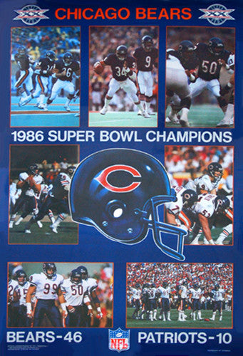 Chicago Bears Super Bowl XX Champions Commemorative Poster - Starline 1986