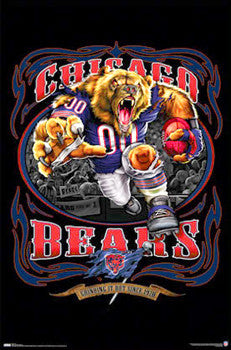 "Chicago Bears ""Grinding it Out"" Theme Art Poster - Costacos Sports"
