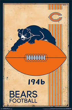 Chicago Bears NFL Heritage Series Official Football Team Retro Logo Poster - Costacos Sports