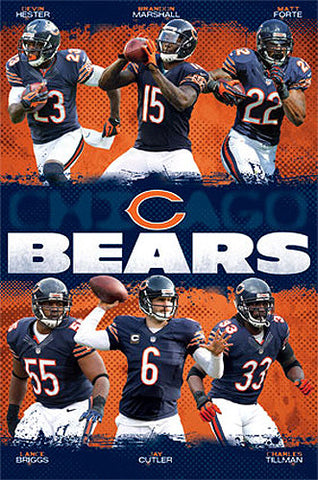 "Chicago Bears ""Super Six"" NFL Football Action Collage Poster - Costacos Sports 2013"