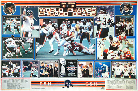 "Chicago Bears ""Championship Collage"" (Super Bowl XX, Jan. 26, 1986) Vintage Original Poster"