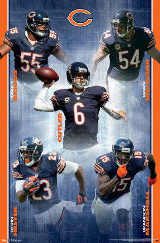 "Chicago Bears ""Super Five"" (2012) NFL Action Poster - Costacos Sports"