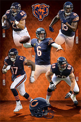 "Chicago Bears ""Big Five"" Poster (Forte, Marshall, Jeffery, Cutler, Allen) - Costacos 2014"