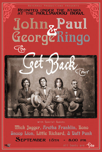 "Fantasy Concert Poster: The Beatles ""Get Back Tour"" at the Hollywood Bowl"