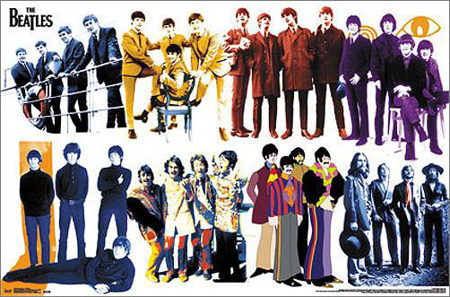 The Beatles Through Time (8 Group Portraits) Historic Music Poster - Trends International