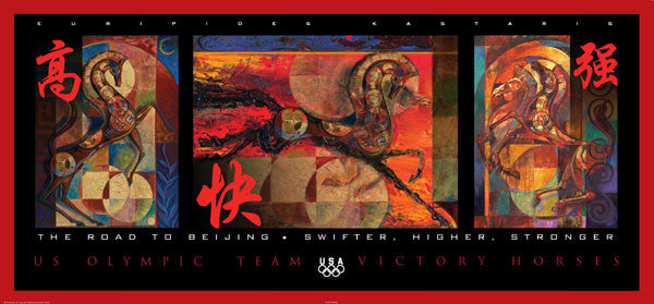 "Beijing 2008 ""Swifter Higher Stronger"" Official US Olympic Poster - Fine Art Ltd."