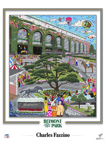 Belmont Park Horse Racing Commemorative Pop Art Poster - Charles Fazzino