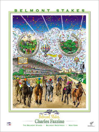 "The Belmont Stakes ""Horseshoes"" Horse Racing Action Commemorative Poster - Charles Fazzino"