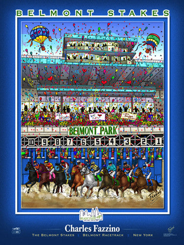 "The Belmont Stakes ""Starting Gate"" Horse Racing Action Commemorative Poster - Charles Fazzino"
