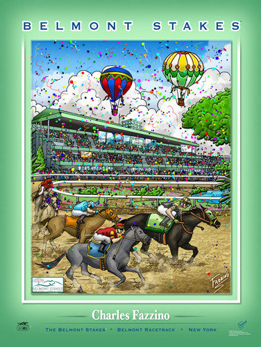 "The Belmont Stakes ""Clubhouse Turn"" Horse Racing Action Commemorative Poster - Charles Fazzino"