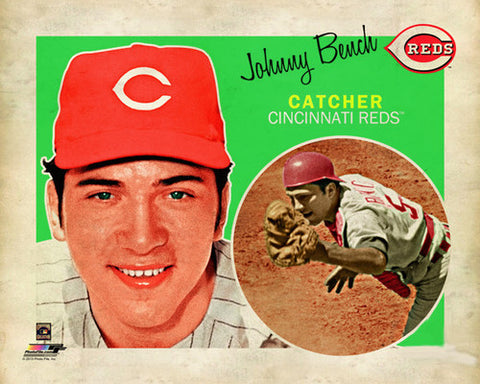 "Johnny Bench ""Retro SuperCard"" Cincinnati Reds Premium Poster Print - Photofile 16x20"