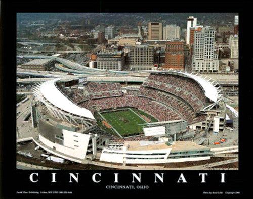 "Cincinnai Bengals Paul Brown Stadium ""From Above"" Premium Poster - Aerial Views"