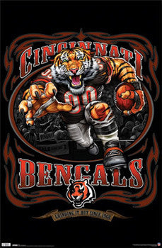 "Cincinnati Bengals ""Grinding it Out Since 1968"" NFL Theme Art Poster - Costacos/Liquid Blue"