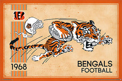 Cincinnati Bengals Retro Logo c.1968 Official NFL Football Team Poster - Costacos Sports