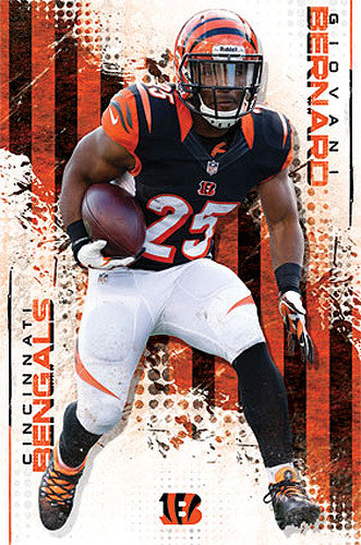 "Giovani Bernard ""Dashing Tiger"" Cincinnati Bengals Official NFL Football Poster - Costacos 2014"
