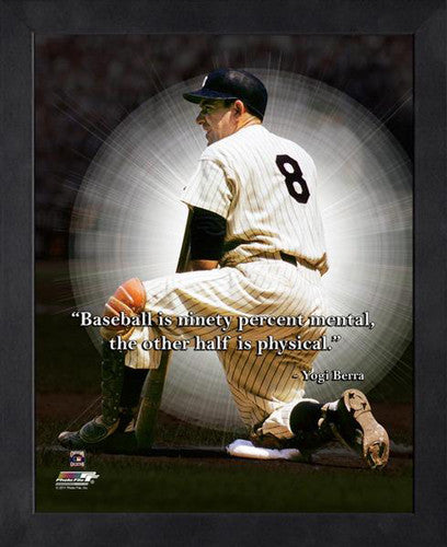 "Yogi Berra ""Ninety Percent Mental"" New York Yankees FRAMED 16x20 PRO QUOTES PRINT - Photofile"