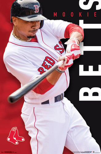 "Mookie Betts ""Boston Blast"" Boston Red Sox Official MLB Baseball Poster - Trends 2017"