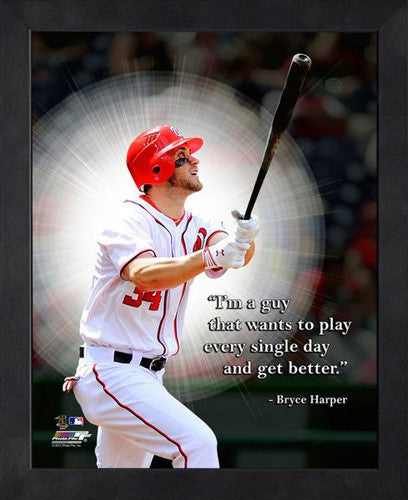 "Bryce Harper ""Every Single Day"" Washington Nationals FRAMED 16x20 PRO QUOTES PRINT - Photofile"