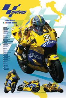 Max Biaggi MotoGP Superstar Honda RC211V Motorcycle Racing Poster - Pyramid 2004