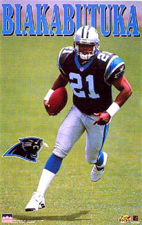 "Tim Biakabutuka ""Action"" Carolina Panthers NFL Football Poster - Starline Inc. 1996"