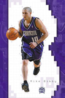 "Mike Bibby ""Backcourt King"" Sacramento Kings NBA Action Poster - Costacos 2002"