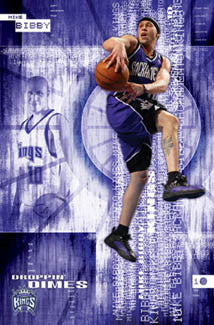 "Mike Bibby ""Droppin' Dimes"" Sacramento Kings Poster - Costacos 2005"