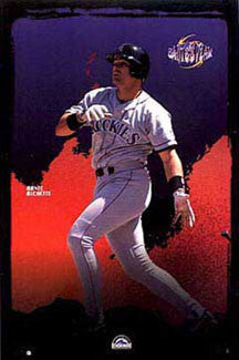 "Dante Bichette ""Dante's Peak"" Colorado Rockies MLB Baseball Action Poster - Costacos 1997"