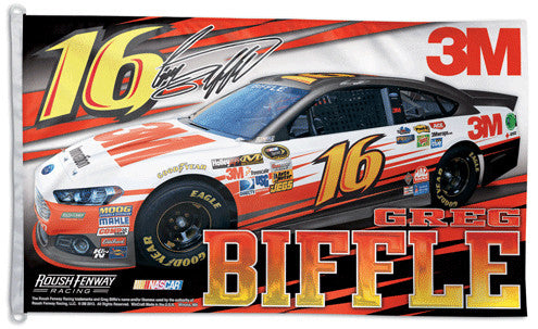 Greg Biffle NASCAR #16 3M Ford Fusion Huge 3' x 5' Banner Flag - Wincraft 2013