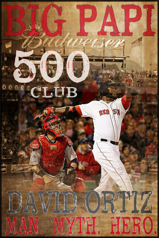 David Ortiz 500 Home Run Club Boston Red Sox Special-Edition Commemorative Poster - Graffi*Tee