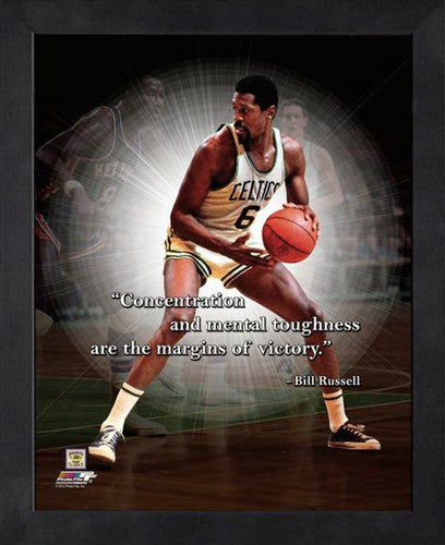"Bill Russell ""Concentration"" Boston Celtics FRAMED 16x20 PRO QUOTES PRINT - Photofile"