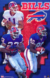 "Buffalo Bills ""Three Stars"" Poster (Rob Johnson, Antowain Smith, Eric Moulds) - Starline 2000"