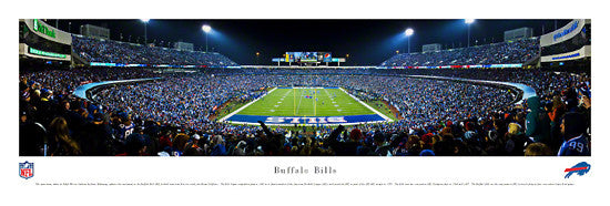 Buffalo Bills Ralph Wilson Stadium Night Game 2012 Panoramic Poster Print - Blakeway